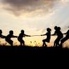 Children playing tug-of-war.