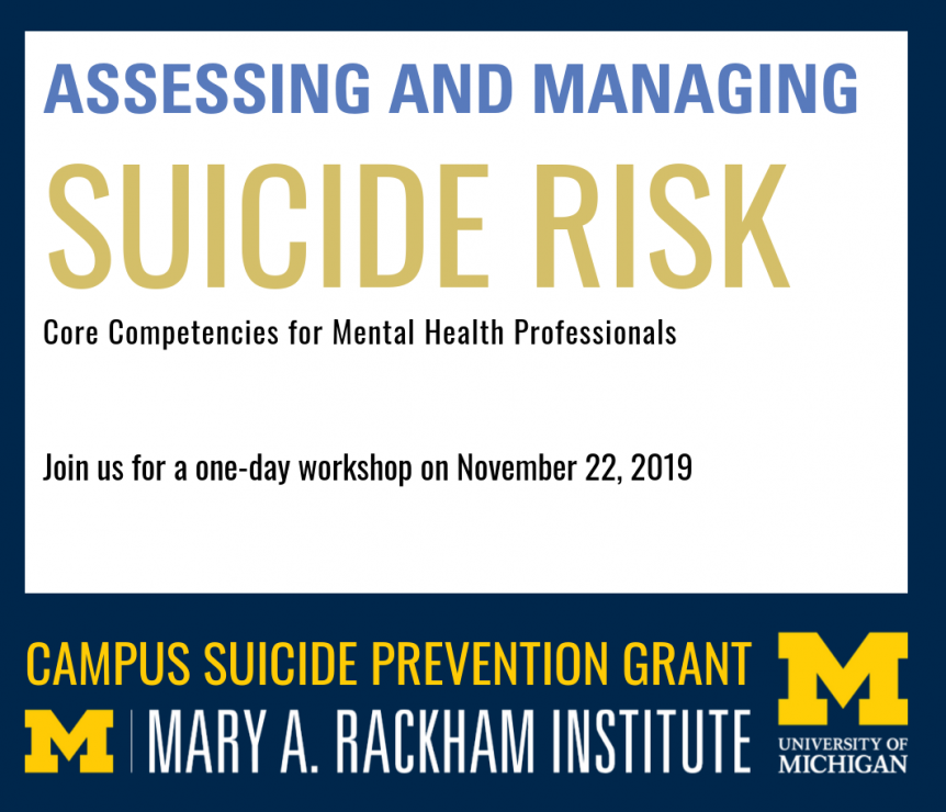 Assessing and managing suicide risk graphic, including U-M logo