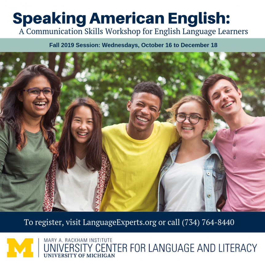 American English Graphic featuring a group of students smiling