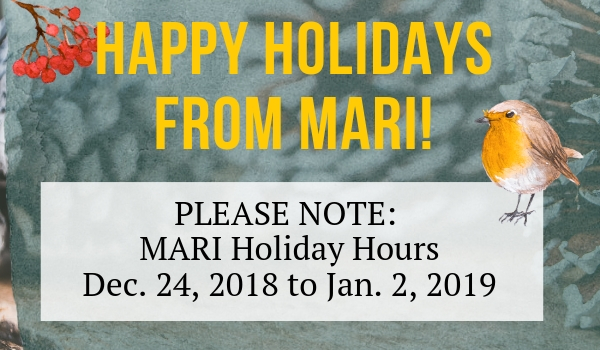 MARI Holiday Hours 2018 Graphic