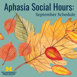 Aphasia Social Hour Sept 2020 Schedule